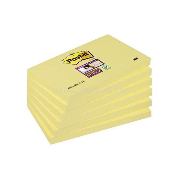 """3M Öntapadó jegyzettömb csomag, 76x127 mm, 6x90 lap, """"Super Sticky"""", sárga"""