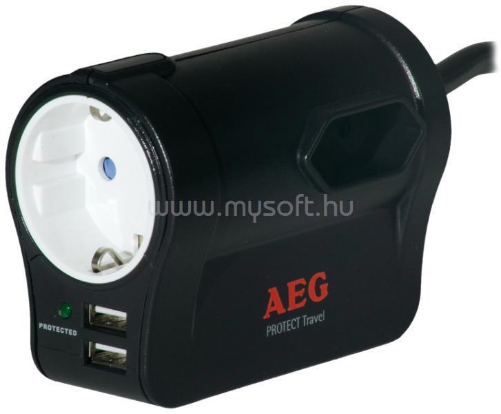 AEG Protect Travel 1xSCH+2EURO, 2xUSB 2.4 portos utazó túlfeszültségvédő