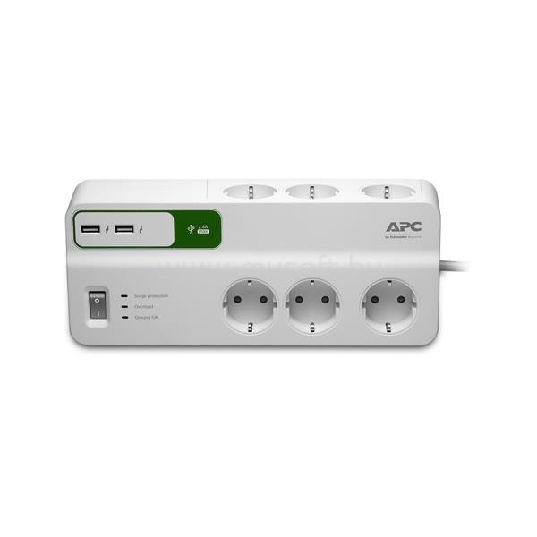 APC Túlfeszültségvédő elosztó 6 DIN, 2x USB, 1,8m