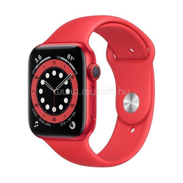 APPLE Watch Series 6 GPS-es 44mm PRODUCT(RED) alumíniumtok PRODUCT(RED) sportszíjas okosóra