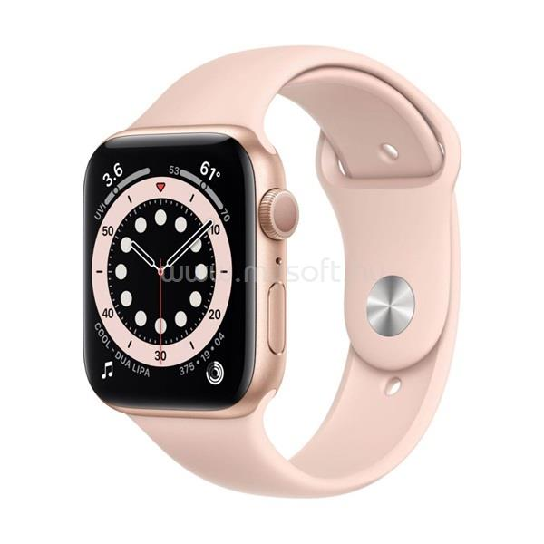 APPLE Watch Series 6 GPS-es 44mm arany alumíniumtok rózsakvarc sportszíjas okosóra