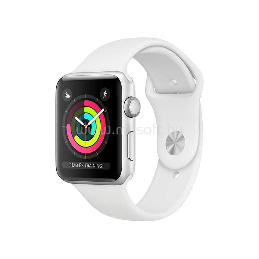 APPLE Watch S3 42mm ezüst alumíniumtok, fehér sportszíjjal