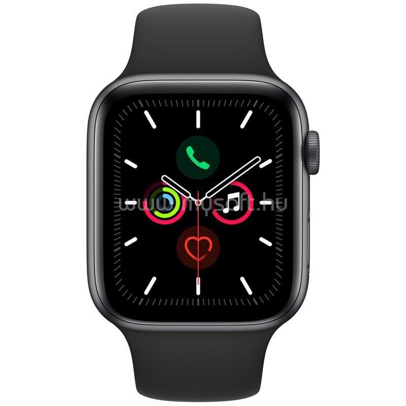 APPLE Watch S5 44mm GPS-es asztroszürke alumíniumtok, fekete sportszíjas okosóra
