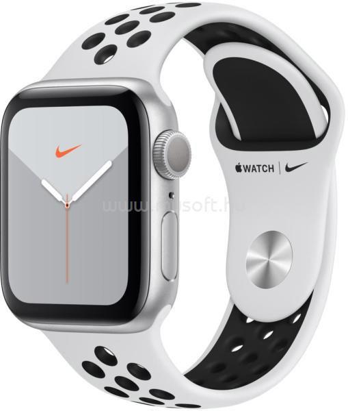 APPLE Watch Nike S5 40mm GPS-es ezüst alumíniumtok, platinum/fekete Nike sportszíjas okosóra