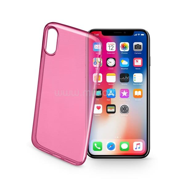 CELLULARLINE tok, Color Case, ultra vékony, átlátszó, gumi iPhone X, rózsaszín