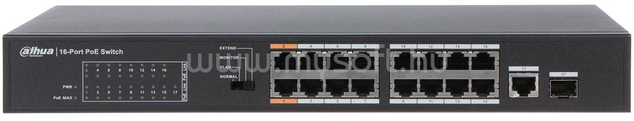 DAHUA PoE switch - PFS3117-16ET-135 (16x 10/100 PoE (135W) + 1x gigabit + 1 SFP uplink)
