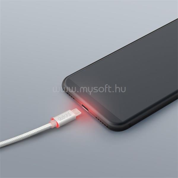 DELIGHT ezüst microUSB adatkábel LED fénnyel 1m
