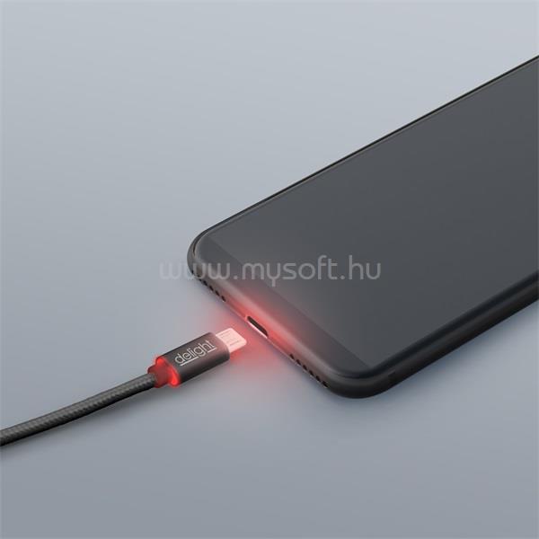 DELIGHT fekete microUSB adatkábel LED fénnyel 1m