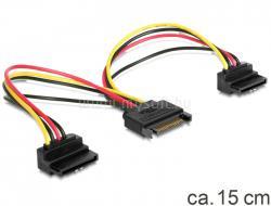 DELOCK Cable Power SATA 15pin > 2x SATA HDD - angled