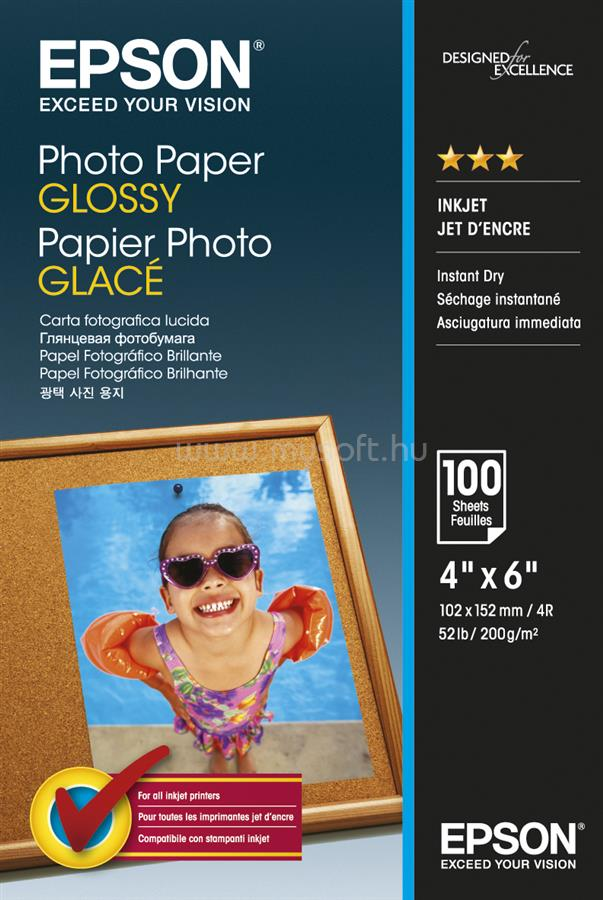 EPSON 10x15 Fényes Fotópapír 100 Lap 200g
