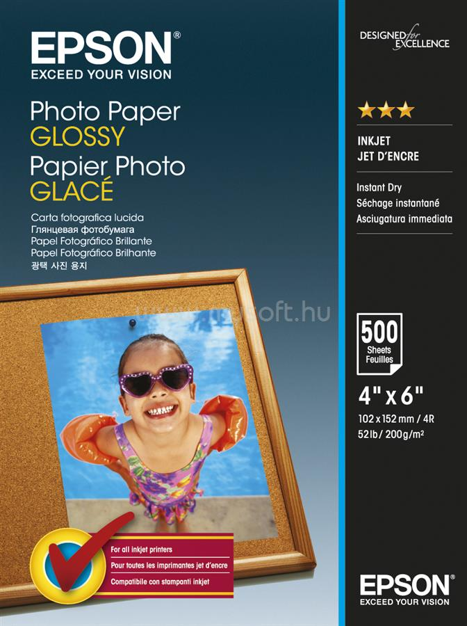 EPSON 10x15 Fényes Fotópapír 500 Lap 200g