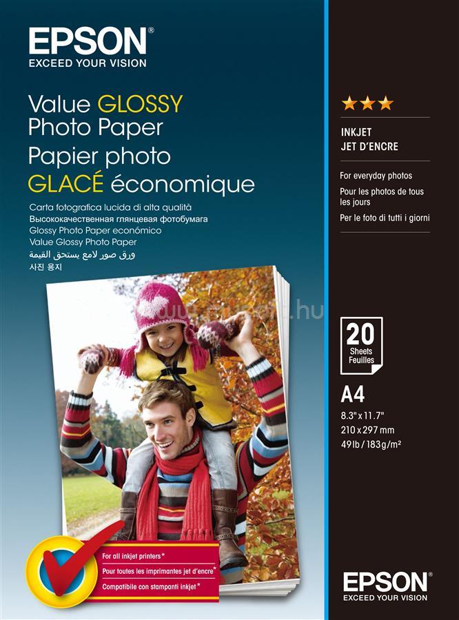 EPSON A4 Gazdaságos Fényes Fotópapír 20 Lap 183g
