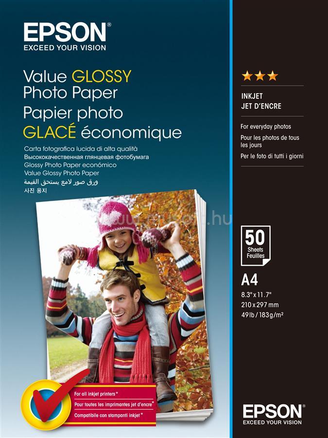 EPSON A4 Gazdaságos Fényes Fotópapír 50 Lap 183g