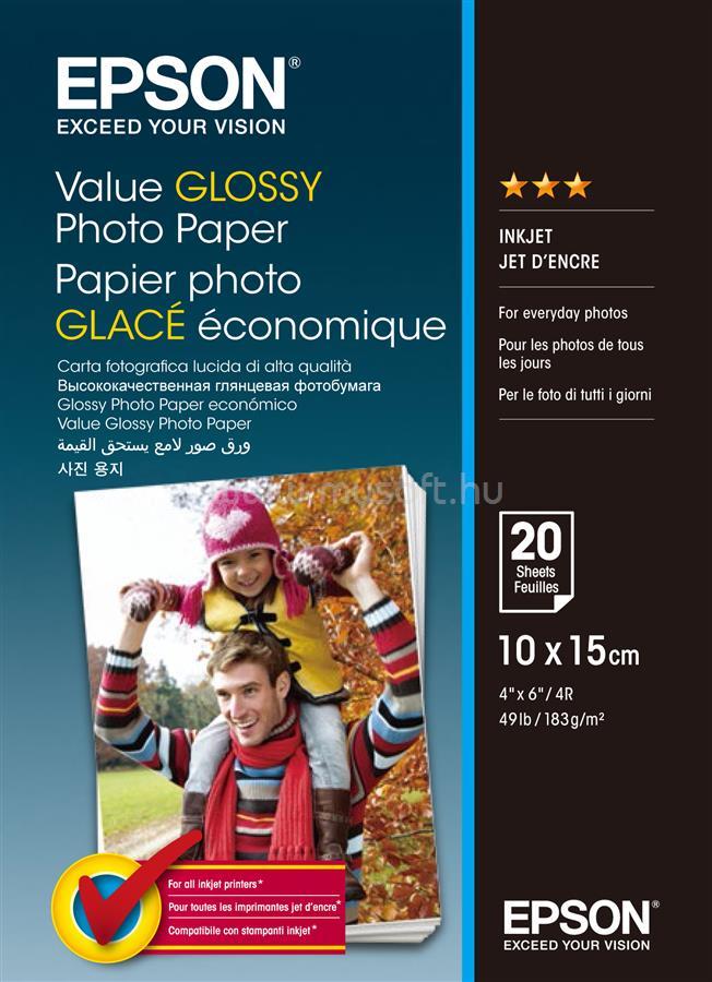 EPSON 10x15 Gazdaságos Fényes Fotópapír 20 Lap 183g