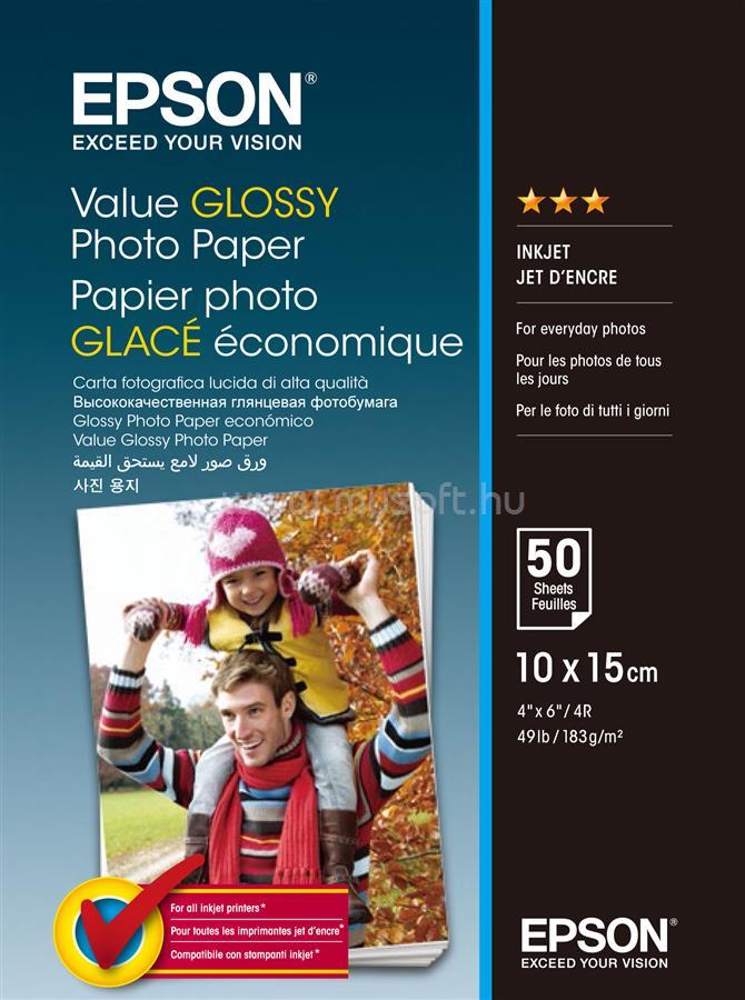 EPSON 10x15 Gazdaságos Fényes Fotópapír 50 Lap 183g