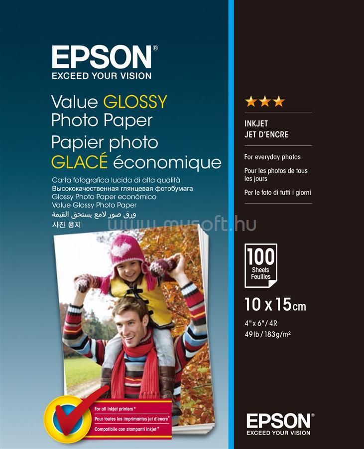 EPSON 10x15 Gazdaságos Fényes Fotópapír 100 Lap 183g