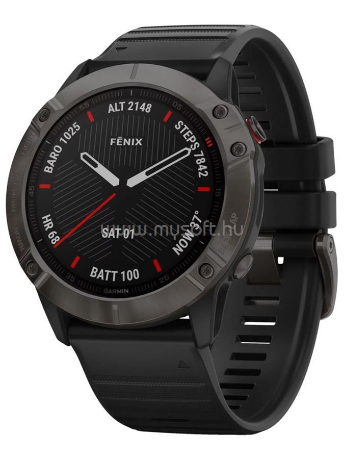 GARMIN Fenix 6X Pro Okosóra Sapphire Carbon DLC Szürke, Fekete szilikon szíjjal