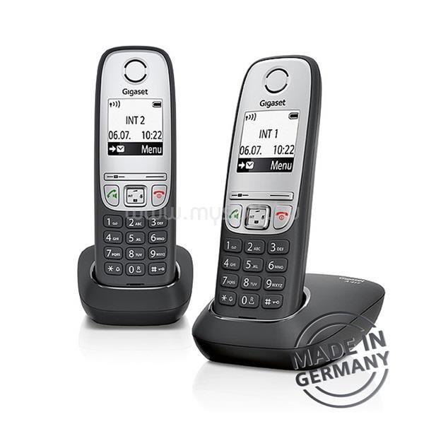 GIGASET A415 DUO hívóazonosítós kihangosítható fekete/ezüst dect telefon