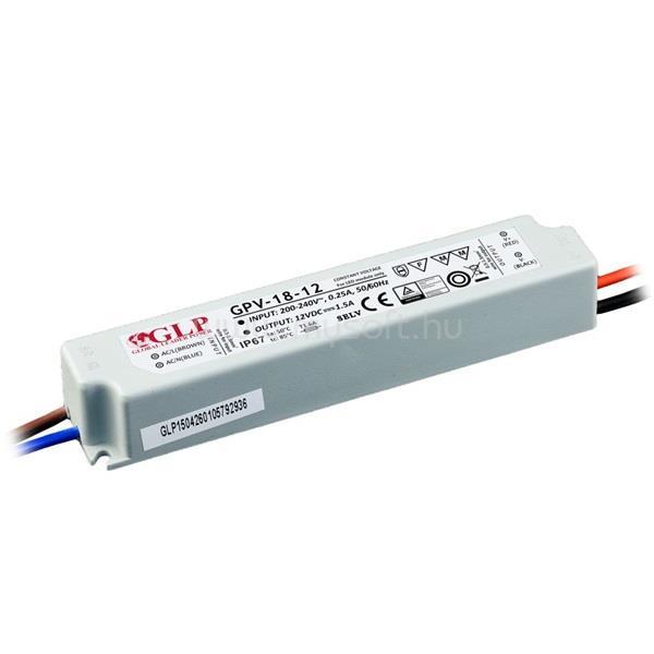 GLP GPV-18-12 18W 12V 1.5A IP67 LED tápegység