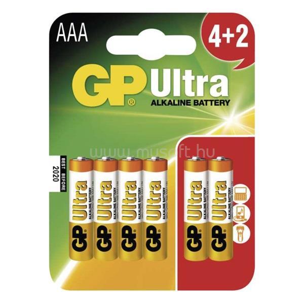 GP BATTERIES GP B1911MM Ultra Alkáli AAA (LR03) elem 4+2 db/bliszter