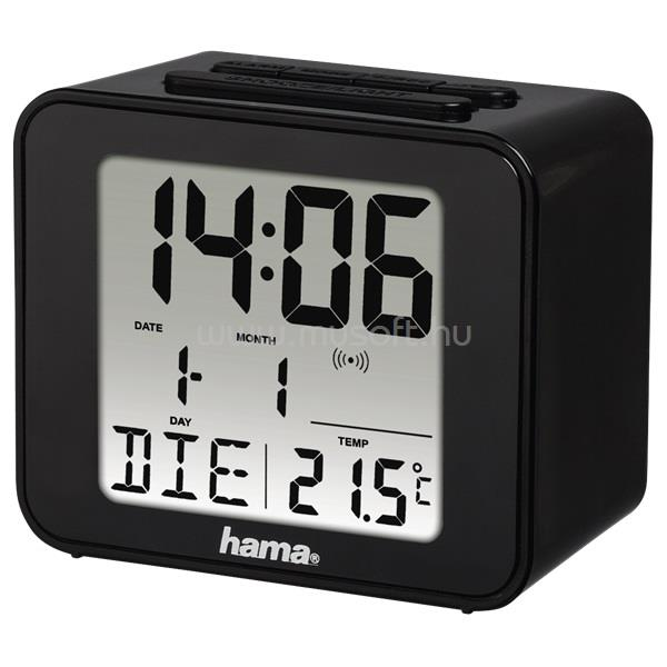 """HAMA """"Cube"""" fekete rádióvezérelt ébresztőóra"""