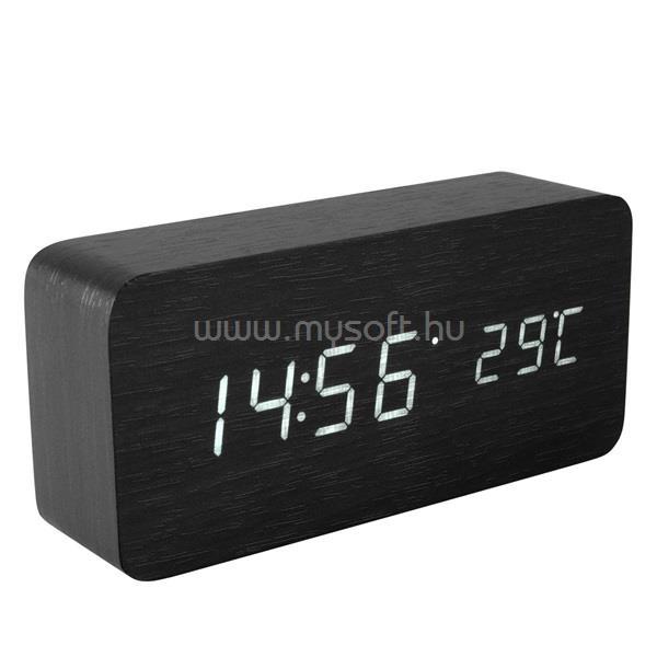 HOME OC 04 Fa digitális ébresztőóra, fekete