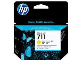 HP 711 3-pack 29-ml Yellow Ink Cartridges, CZ136A