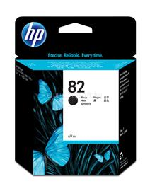 HP 82 69-ml Black Ink Cartridge, CH565A