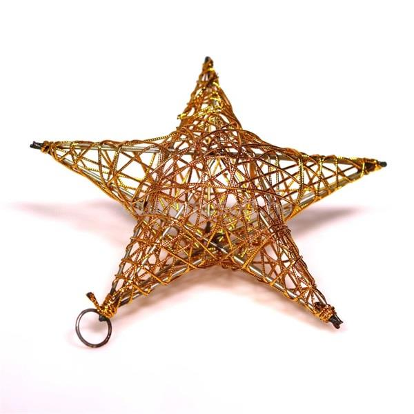 IRIS Csillag alakú 20cm/arany színű festett fém dekoráció