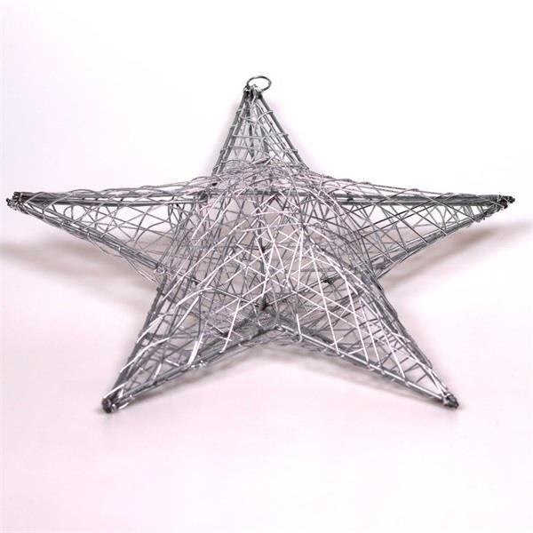 IRIS Csillag alakú 40cm/ezüst színű festett fém dekoráció