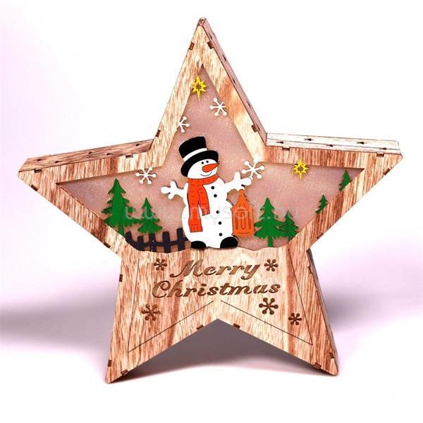 IRIS Csillag alakú hóember mintás/30x30cm/meleg fehér LED-es fa fénydekoráció