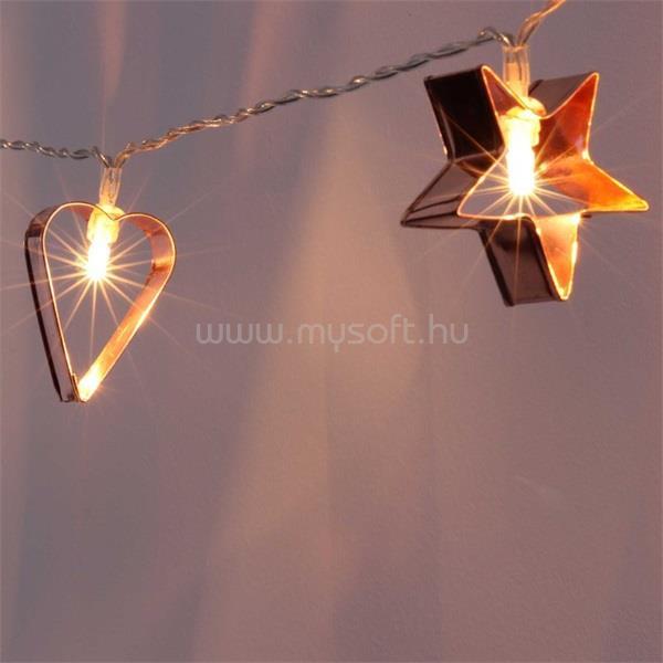 IRIS Csillag+szív alakú fém/4m/meleg fehér/20db LED-es/USB-s fénydekoráció