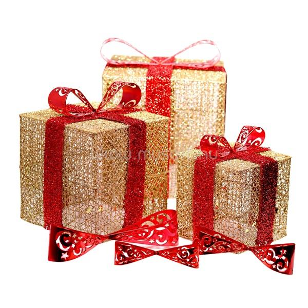 IRIS Doboz alakú /1db 20cm, 1db 25cm, 1db 30cm/ arany-piros fémdoboz műanyag masnival dekor szett