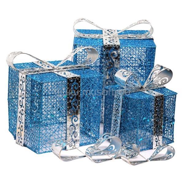 IRIS Doboz alakú /1db 20cm, 1db 25cm, 1db 30cm/ kék-ezüst fémdoboz műanyag masnival dekor szett