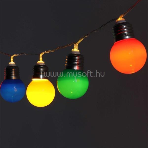 IRIS E27 izzó alakú 8 programos/8m/IPX3 szabványos/piros, zöld, kék, sárga/40db LED-es/napelemes fénydekoráció