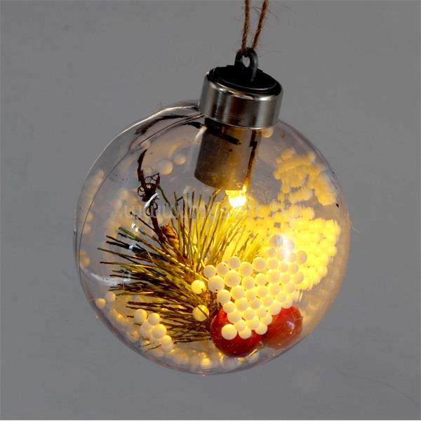 IRIS Gömb alakú /E/ 8cm meleg fehér műanyag-akril LED-es fénydekoráció