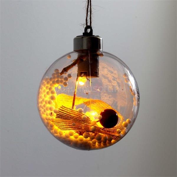 IRIS Gömb alakú /G/ 8cm meleg fehér műanyag-akril LED-es fénydekoráció