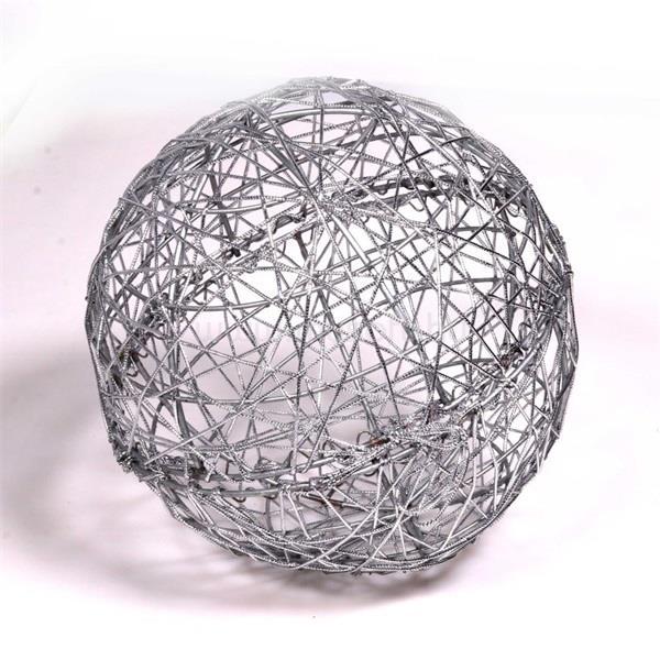 IRIS Gömb alakú 20cm/ezüst színű festett fém dekoráció
