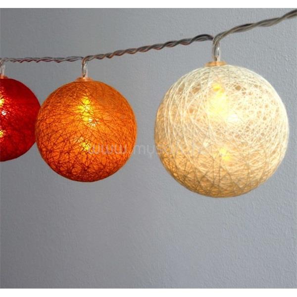 IRIS Gömb alakú 6cm/színes fonott/1,5m/piros-narancs-meleg fehér/10db LED-es/USB-s fénydekoráció