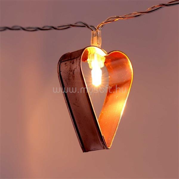 IRIS Szív alakú fém/4m/meleg fehér/20db LED-es/USB-s fénydekoráció