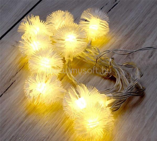IRIS Zúzmara alakú 3cm/1,5m/meleg fehér/10db LED-es/2xAA elemes fénydekoráció