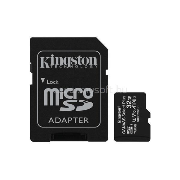 KINGSTON Canvas Select Plus MicroSDHC memóriakártya 32GB. UHS-I + SD adapter