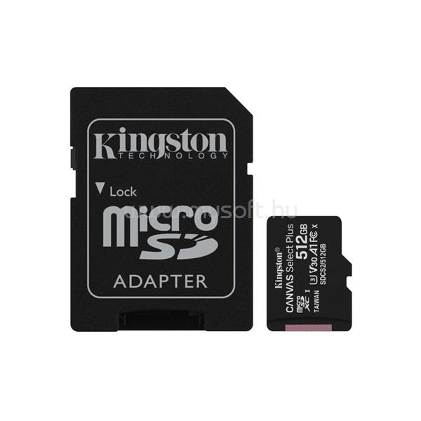 KINGSTON Canvas Select Plus MicroSDXC memóriakártya 512GB, Class10, UHS-I + adapter