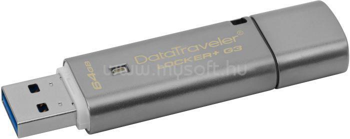 KINGSTON DataTraveler Locker+ G3 Titkosított Pendrive 64GB USB3.0 (fém)