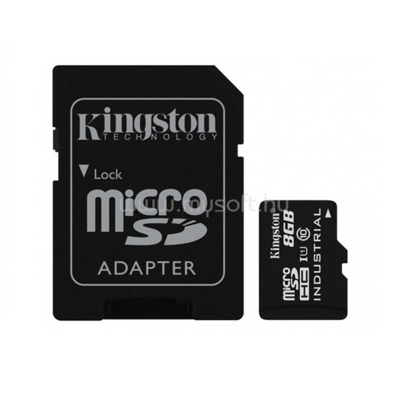 KINGSTON Industrial Temp MicroSDHC memóriakártya 8GB, Class10, UHS-I + SD adapter