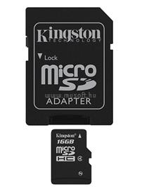 Kingston Memóriakártya MicroSDHC Everyday 16GB CLASS 4 + Adapter, SDC4/16GB