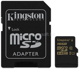 Kingston Memóriakártya MicroSDHC High-Speed 16GB CLASS 10, UHS-1 + Adapter, SDCA10/16GB