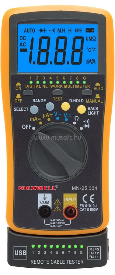 MAXWELL 25334 Digitális multiméter kábelteszt funkcióval