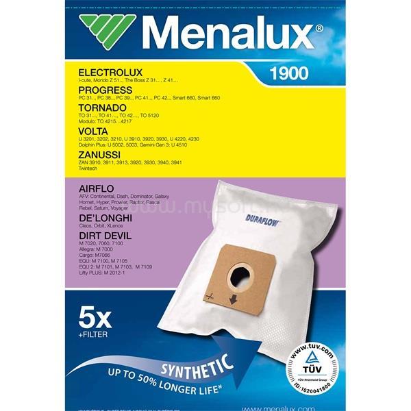 MENALUX 1900 5 db szintetikus porzsák + 1 mikroszűrő
