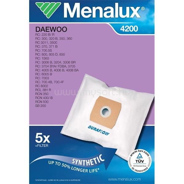 MENALUX 4200 5 db szintetikus porzsák + 1 mikroszűrő